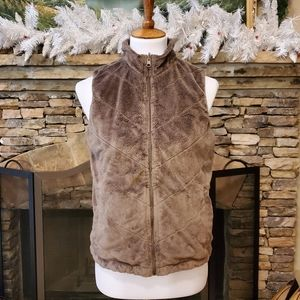 Columbia reversible fleece/corduroy print vest